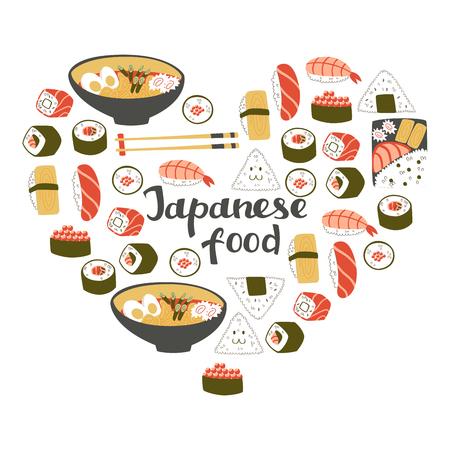 Heart Shape Set of Japanese Cuisine: Sushi, Onigiri and Noodle.