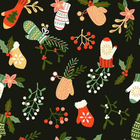 Seamless Christmas Background with Doodle Mittens and Mistletoe.
