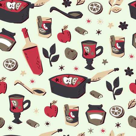 Doodle Hand Drawn Vegetable Soup Seamless Pattern. Vector Illustration.