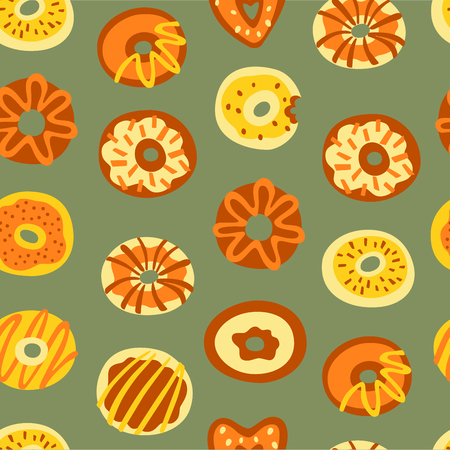 Seamless Pattern with Doodle Sweet Food. Hand Drawn Vector Illustration.