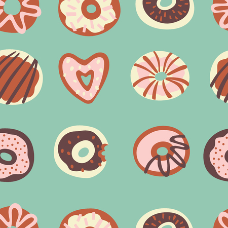 Vector Seamless Pattern with Glazed Donuts. Vector Doodle Illustration.
