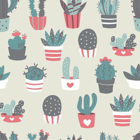 Cactus and Succulents Seamless Pattern. Vector Doodle Illustration.
