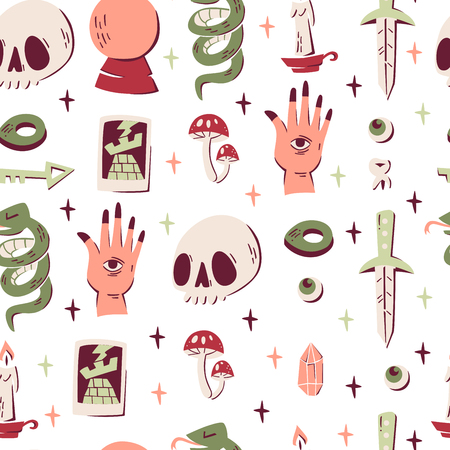 Seamless Pattern with Magic Elements: Skull, Tarot Card, Crystal Ball, Snake, Knife and etc. Illustration