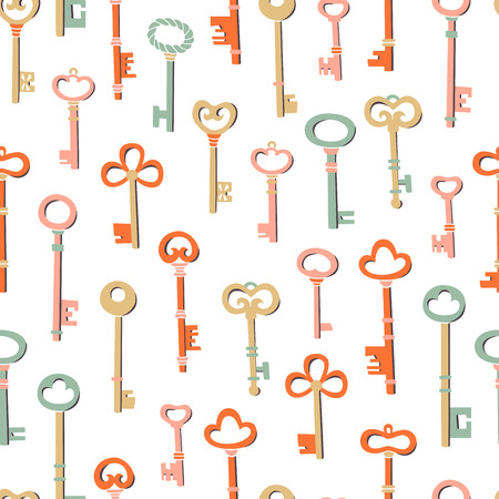 Seamless Pattern Key Illustration. A Set of Different Key Figures.