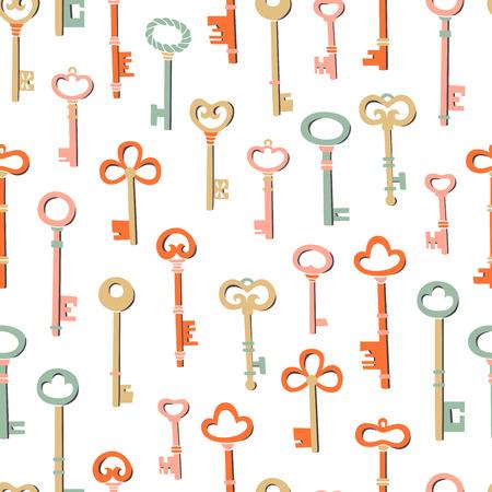 Seamless Pattern Key Illustration. A Set of Different Key Figures.