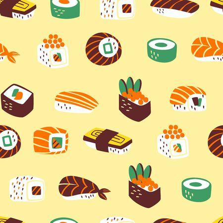 Modèle sans couture avec différents types de sushis et de rouleaux.