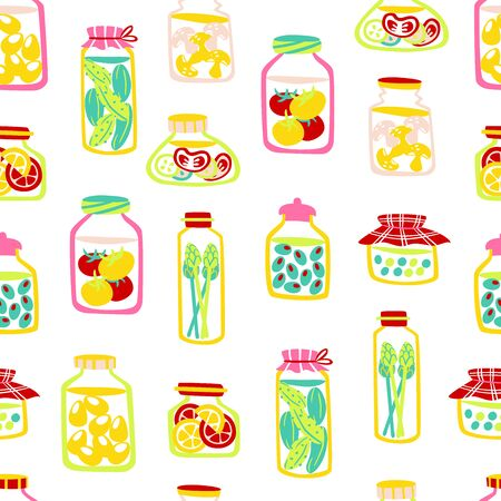 Hand Drawn Seamless Pattern with Pickle Jars Vegetables on White Background. Çizim