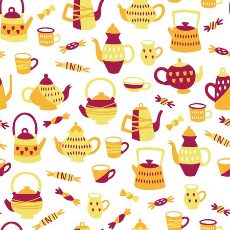 Seamless Pattern with Tea Elements. Background with Teapots, Cups and Sweets.