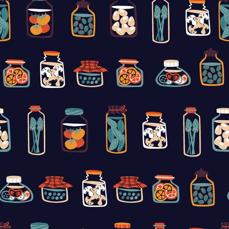 Seamless Pattern of Vegetables Canned in Jars.