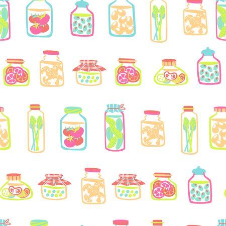 Seamless Pattern with Pickled Food - Cucumber, tomatoes, Olives, Peas, Eggs, Mushrooms. Çizim