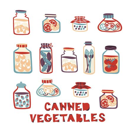 Collection of Hand Drawn Pickled Food - Cucumber, tomatoes, Olives, Peas, Eggs, Mushrooms.