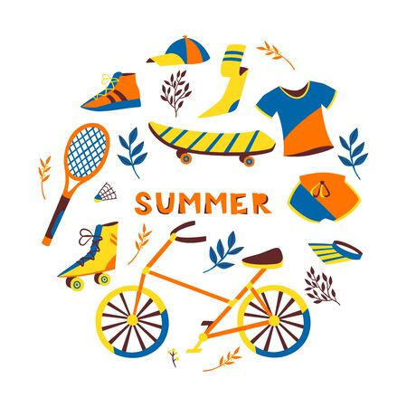 Set of Hand Drawn Bikes, Skateboards, Roller and Accessories on White Background. Ilustração