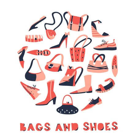 Set of Hand Drawn Doodle Shoes and Bags. Vector Illustration on White Background.