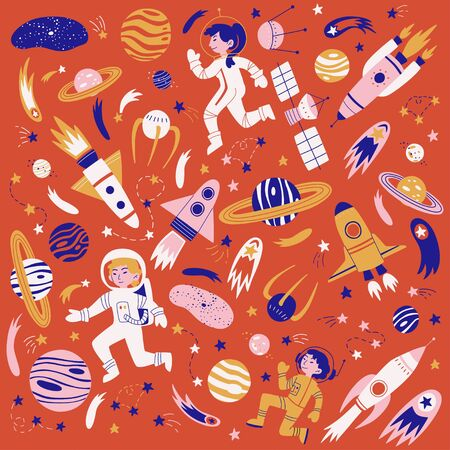 Vector pattern with cosmonauts, satelites, rockets, planets, moon and falling stars in doodle style.