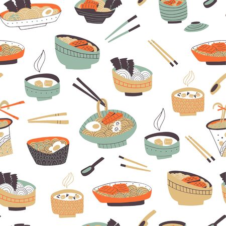 Seamless pattern with hands drawn traditional japanese food. Vector doodle illustration.