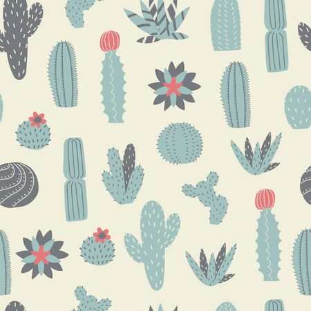 Cactus and succulents seamless pattern. Vector background.
