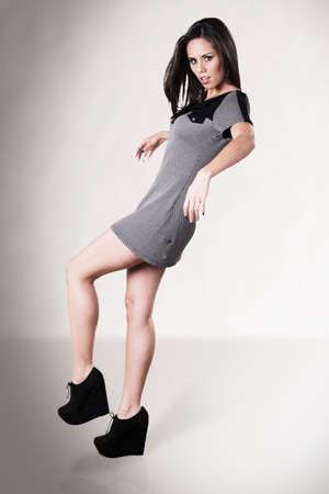 glases: Fashion prety girl mini skirt Stock Photo