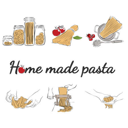 Italian foods concept, Process of making cooking homemade pasta
