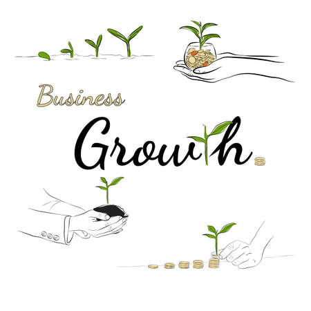 line drawing concept of growing, growth, business, money. Иллюстрация