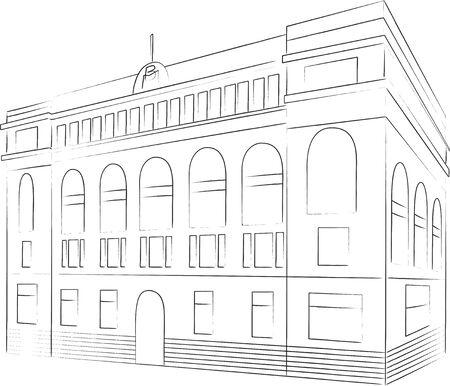 old building: Sketch Illustration
