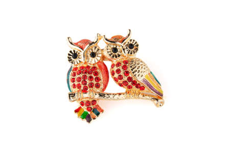 shiny brooch owls on a white background photo