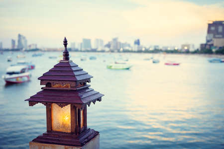 Background image lamp with sea and sunset