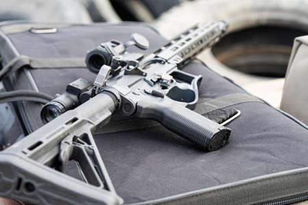 Modern AR15 rifle with a sight aim Stock Photo - 141740290