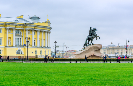 peter the great: Senate Square in St. Petersburg and the monument to Peter the Great made by E. Falcone in 1770