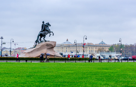 senate: Senate Square in St. Petersburg and the monument to Peter the Great made by E. Falcone in 1770