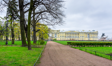 l first: At the Senate Square in St. Petersburg on a rainy spring day Editorial