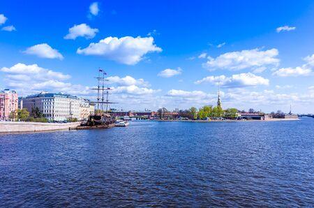 to spit: View from the Spit of Vasilyevsky Island in St. Petersburg, Russia Stock Photo