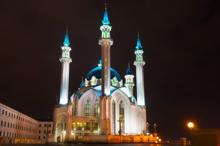 Kul Sharif mosque at night. Kazan, Russia