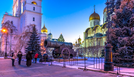 tsar: In the Moscow Kremlin near the Tsar Cannon before Christmas Editorial