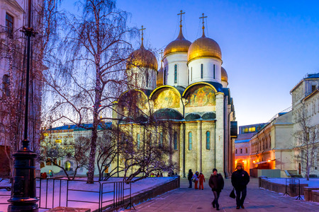 sobor: Assumption Cathedral (Cathedral of the Dormition, Uspensky sobor) of the Moscow Kremlin in winter