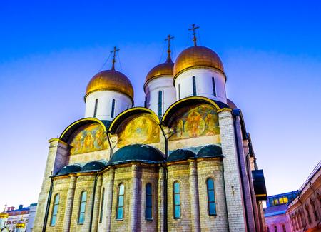 sobor: Facade of the Assumption Cathedral (Cathedral of the Dormition, Uspensky sobor) of the Moscow Kremlin Stock Photo