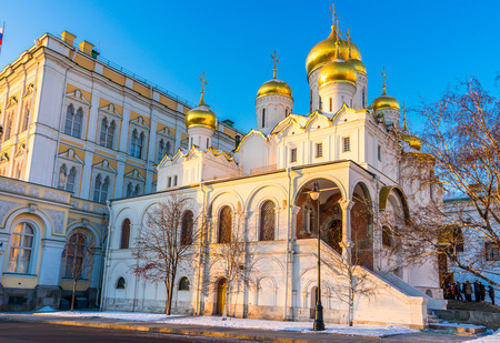 sobor: Cathedral of the Annunciation (Blagoveshchensky Sobor) in Moscow in the winter