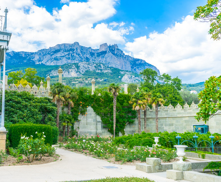 alupka: Mount Ai-Petri View from the garden of the Vorontsov Palace in the Crimea, Russia