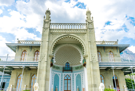 alupka: The southern facade of Vorontsov Palace in Alupka, Crimea, built mid 19th century building