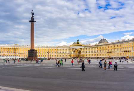 RUSSIA, Saint Petersburg, July 18, 2013, Palace Square and the Alexander Column in St. Petersburg