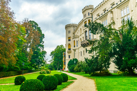 windsor: Czech Republic, Hluboka nad Vltavou - September 21, 2017. The park around the Castle of Hluboka in the Czech Republic. Czech Windsor. Medieval fortress. Castle of Schwarzenberg