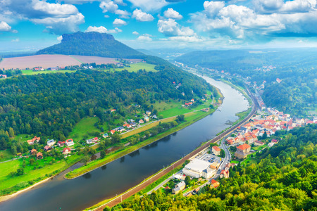 The German villages of Halbestadt and Ebenhayt, as well as Mount Lilienstein. The Elbe River. Saxon Switzerland, Germany. View from the fortress of Koenigstein Stock Photo