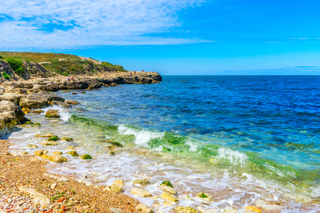 The Black Sea coast on the territory of the ancient city of Chersonese in Sevastopol in the Crimea in Russia Stock Photo