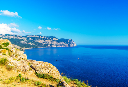 Cape Aya in the distance in Balaklava, in the Crimea, in Russia. View from the fortress Cembalo Stock Photo