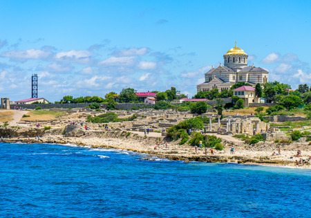 Vladimir Cathedral and the ruins of the ancient Greek city of Chersonese on the territory of Sevastopol in the Crimea, in Russia