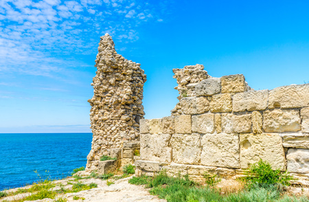 Ruins of an ancient wall in Chersonese, an ancient city on the territory of Sevastopol in the Crimea, in Russia