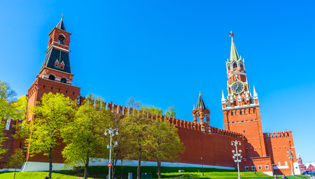 The Moscow Kremlin is a bright sunny spring day. Russia Stock Photo