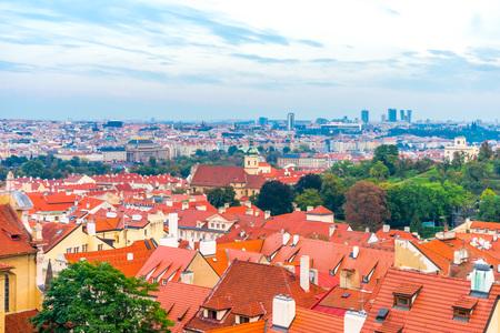 Beautiful views of Prague's tiled roofs. Czech Republic