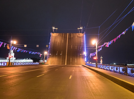 Divorced Palace Bridge at night in St. Petersburg. Russia Stock Photo
