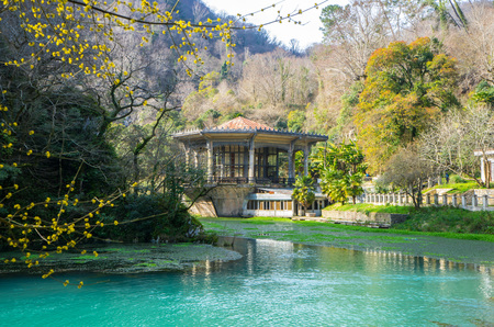 The reservoir and the beautiful pavilion at the old hydroelectric station in New Athos in Abkhazia