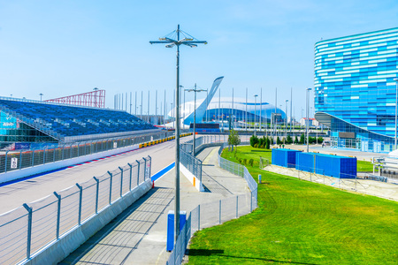Russia, Sochi - March 03, 2019. Track Formula 1 Grand Prix of Russia. In the background the Bolshoi Ice Palace in the Olympic Park